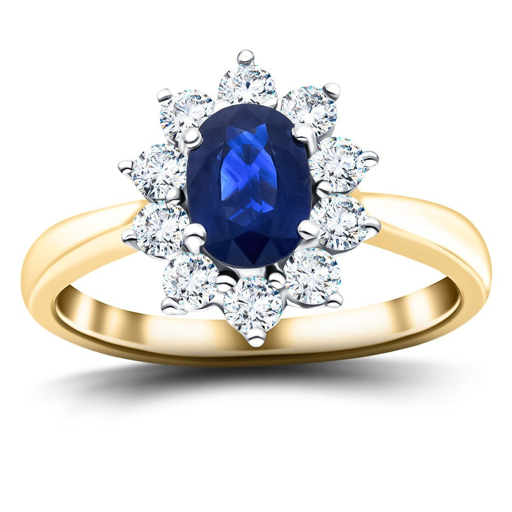 Oval 0.50ct Blue Sapphire 0.30ct Diamond Cluster Ring 18k Yellow Gold - All Diamond