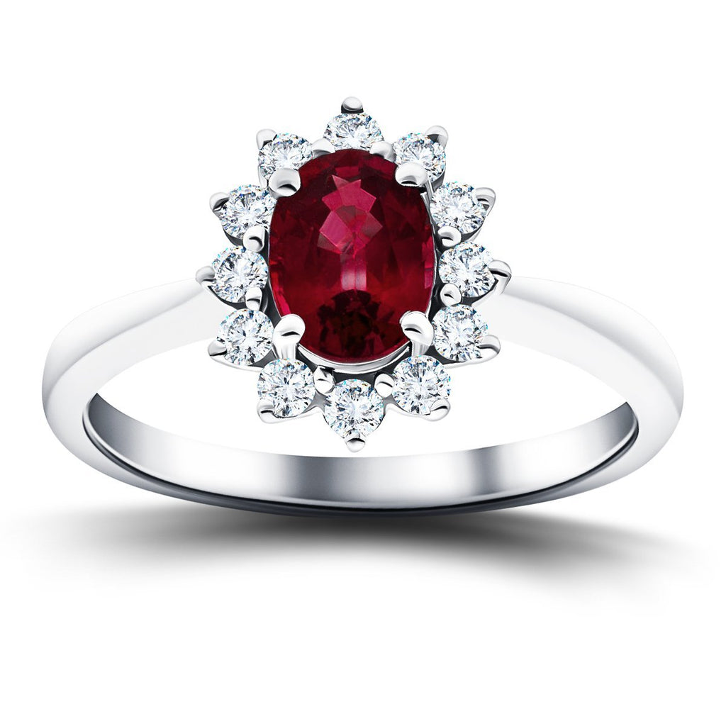 Oval 0.50ct Ruby 0.20ct Diamond Cluster Ring 18k White Gold - All Diamond