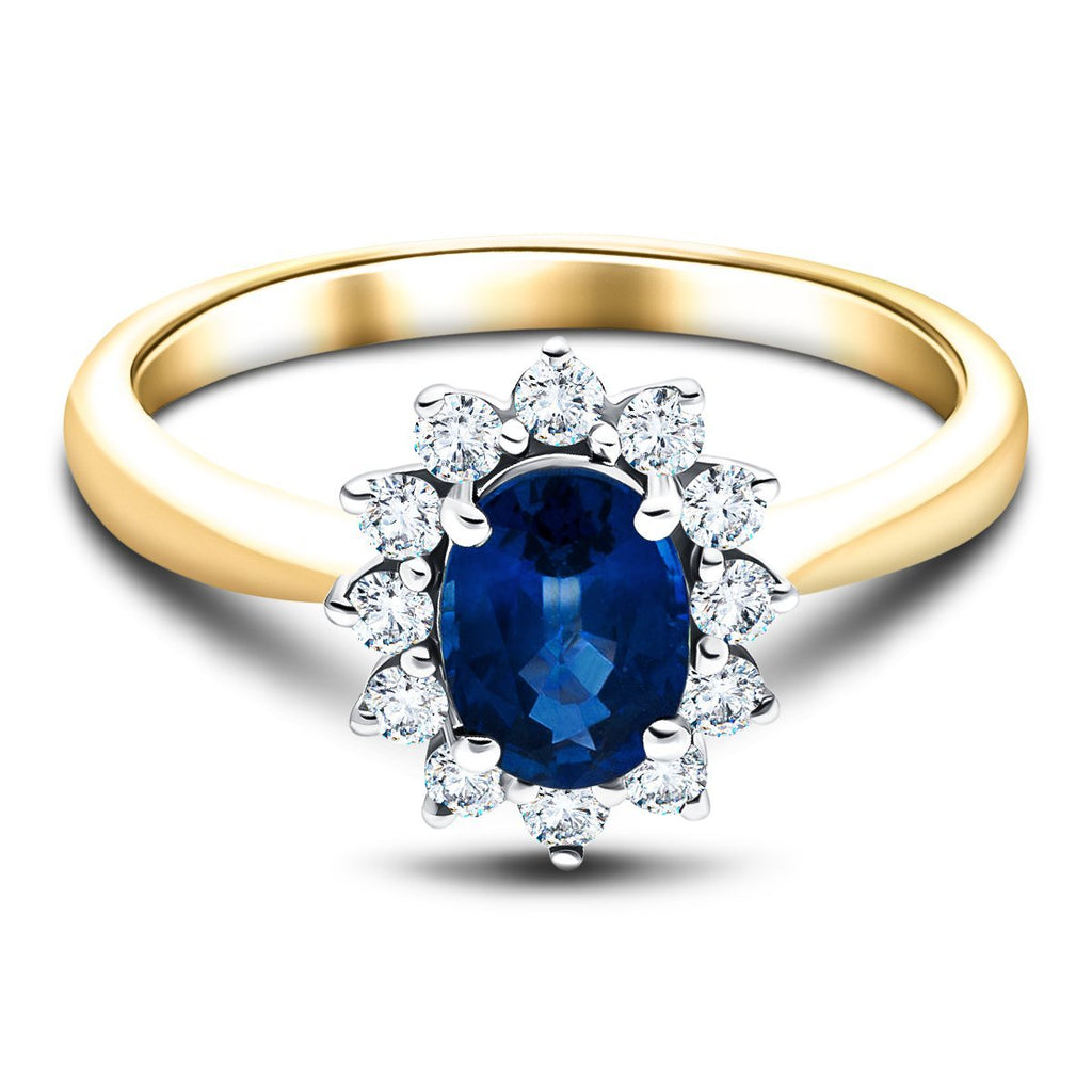Oval 1.00ct Blue Sapphire 0.30ct Diamond Cluster Ring 18k Yellow Gold - All Diamond