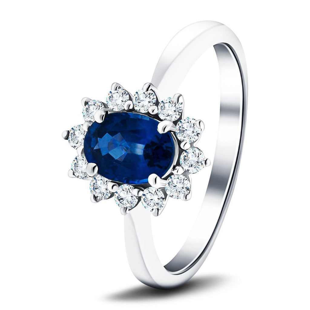 Oval 1.50ct Blue Sapphire 0.50ct Diamond Cluster Ring 18k White Gold - All Diamond