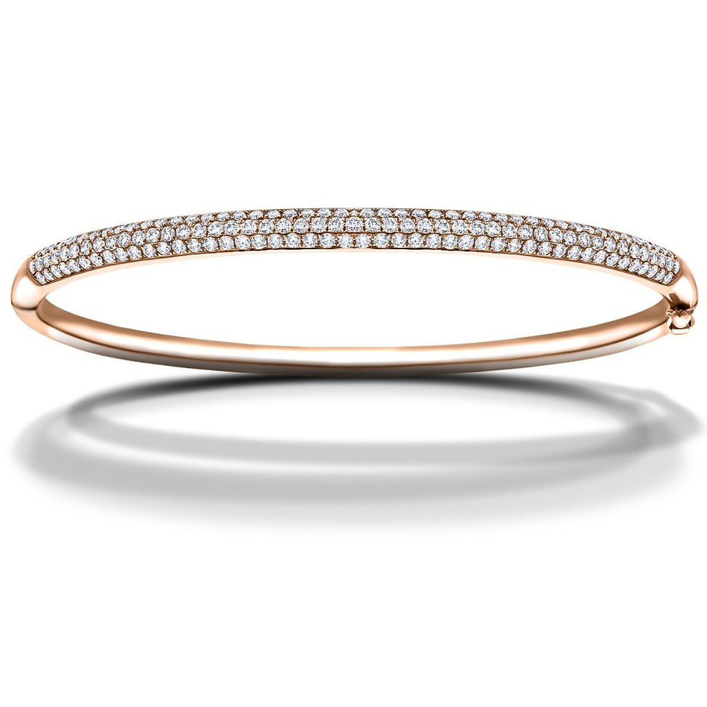 Pave Set Round Diamond Bangle 1.50ct G/SI Diamond in 18k Rose Gold - All Diamond