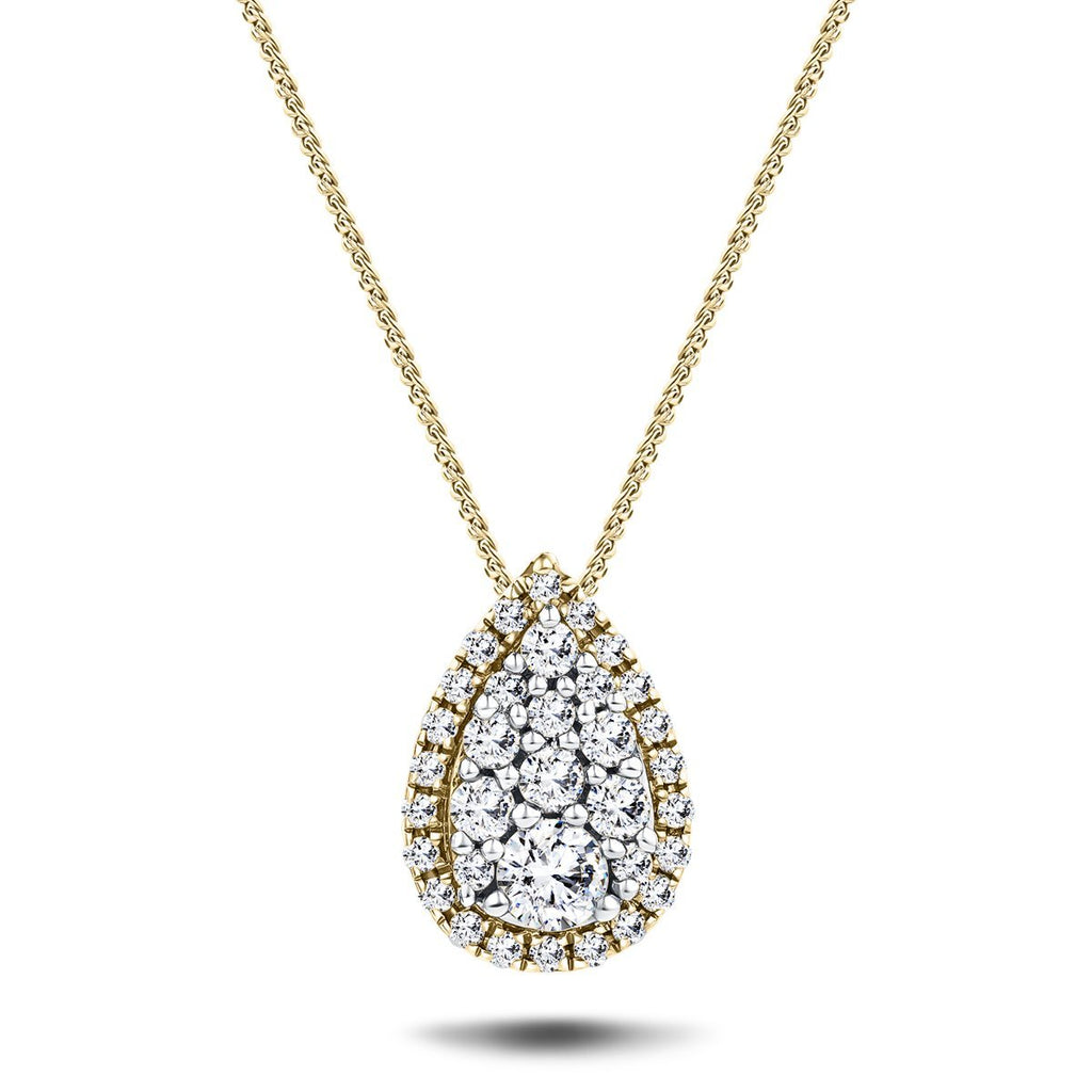 Pear Diamond Cluster Pendant Necklace 0.25ct G/SI in 18k Yellow Gold - All Diamond