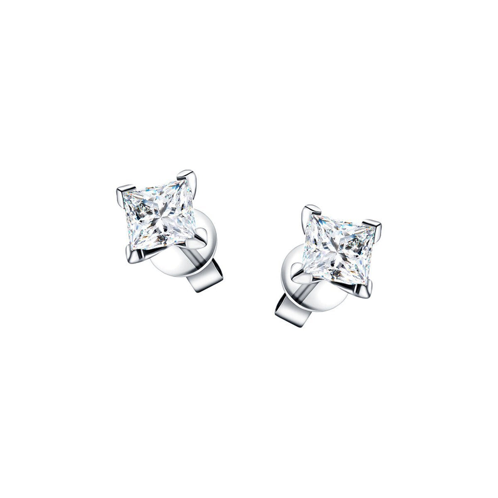 Princess Diamond Earrings 0.40ct G/SI Quality in 18k White Gold - All Diamond