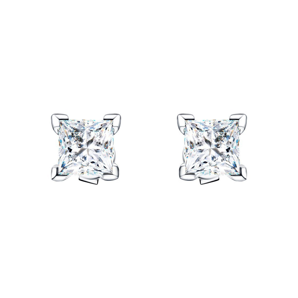 Princess Diamond Stud Earrings 2.00ct G/SI Quality in 18k White Gold - All Diamond