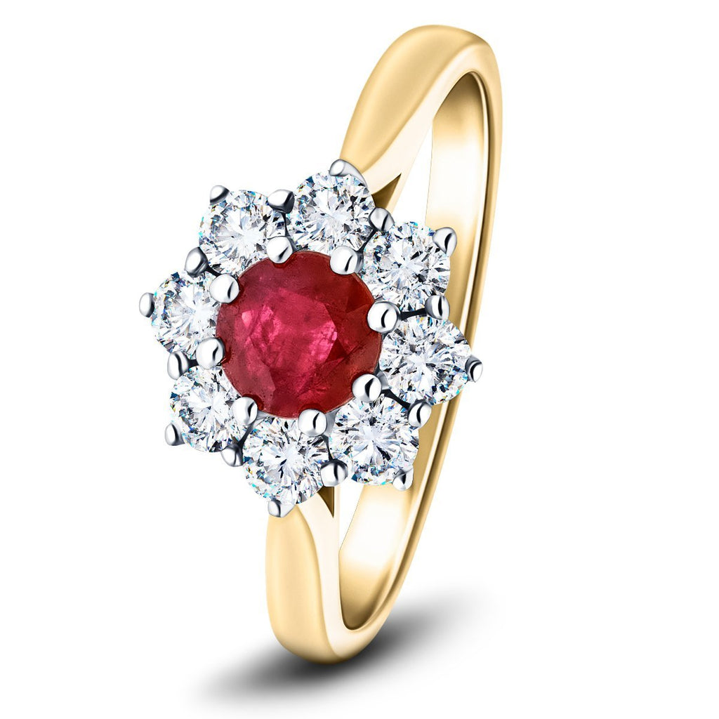 Round 0.70ct Ruby 0.60ct Diamond Cluster Ring 18k Yellow Gold - All Diamond