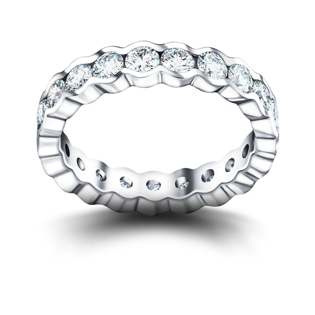 Semi Bezel Diamond Full Eternity Ring 1.45ct G/SI in Platinum - All Diamond