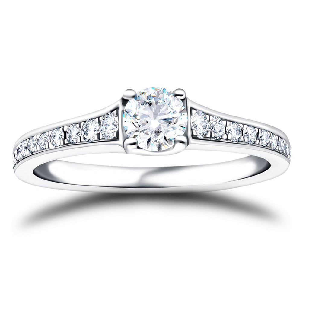Shoulder Set Diamond Engagement Ring 0.90ct G/SI in Platinum - All Diamond