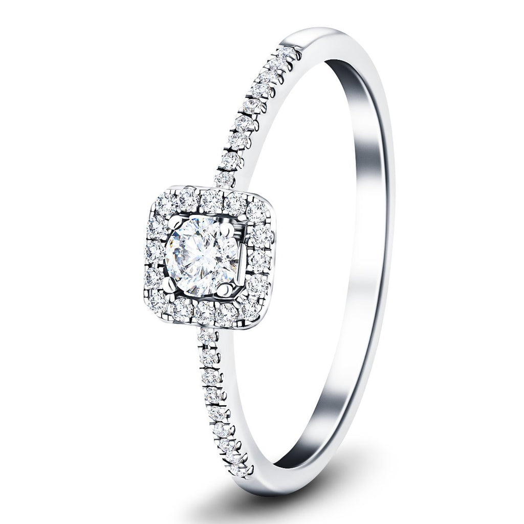 Square Halo Diamond Engagement Ring with 0.25ct G/SI in 18k White Gold - All Diamond