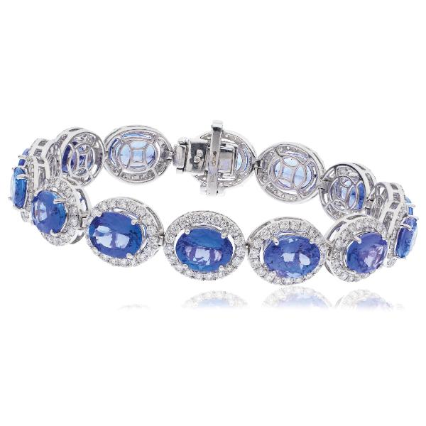 Tanzanite & Diamond Halo Bracelet 29.90ct in 18k White Gold - All Diamond