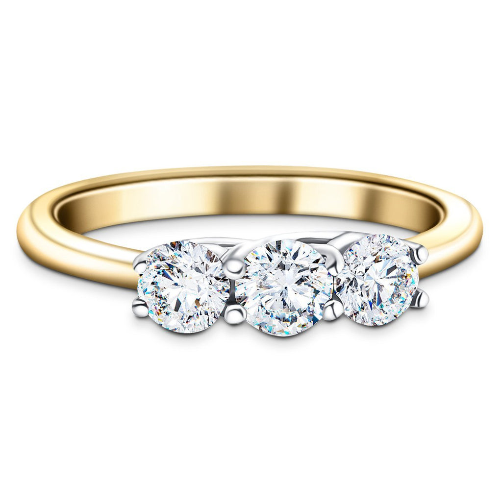 Three Stone Diamond Engagement Ring 0.75ct G/SI Quality 18k Yellow Gold - All Diamond