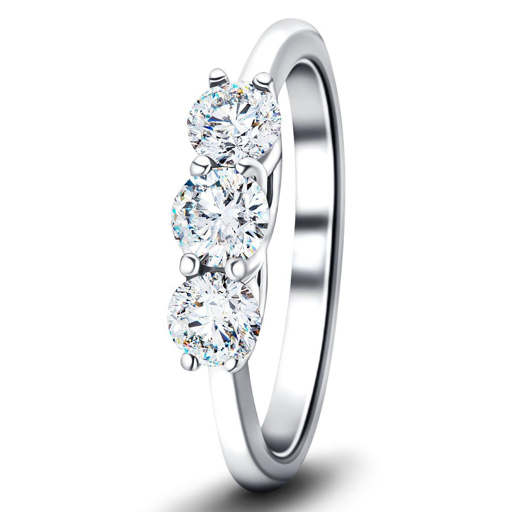 Three Stone Diamond Engagement Ring 1.00ct G/SI Quality in Platinum - All Diamond