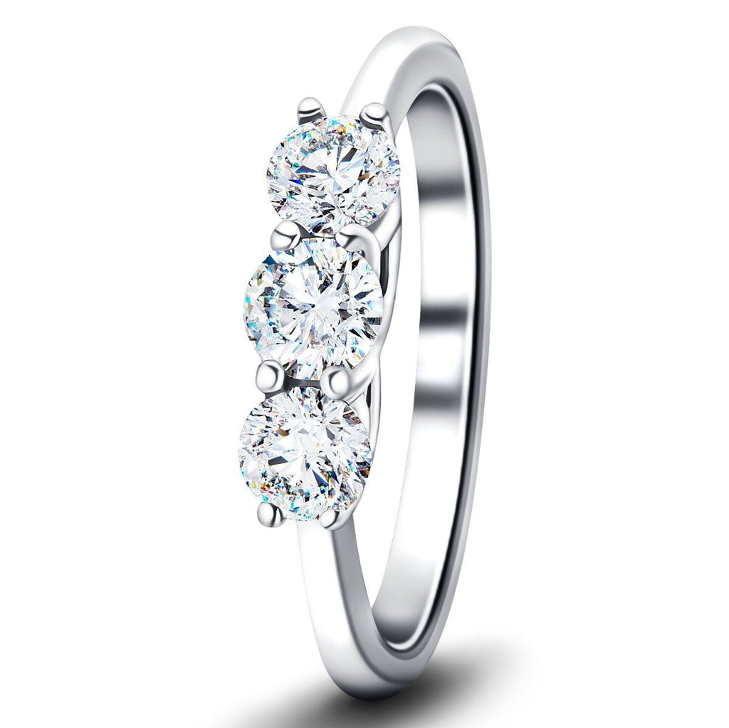 Three Stone Diamond Engagement Ring 3.00ct G/SI Quality in Platinum - All Diamond