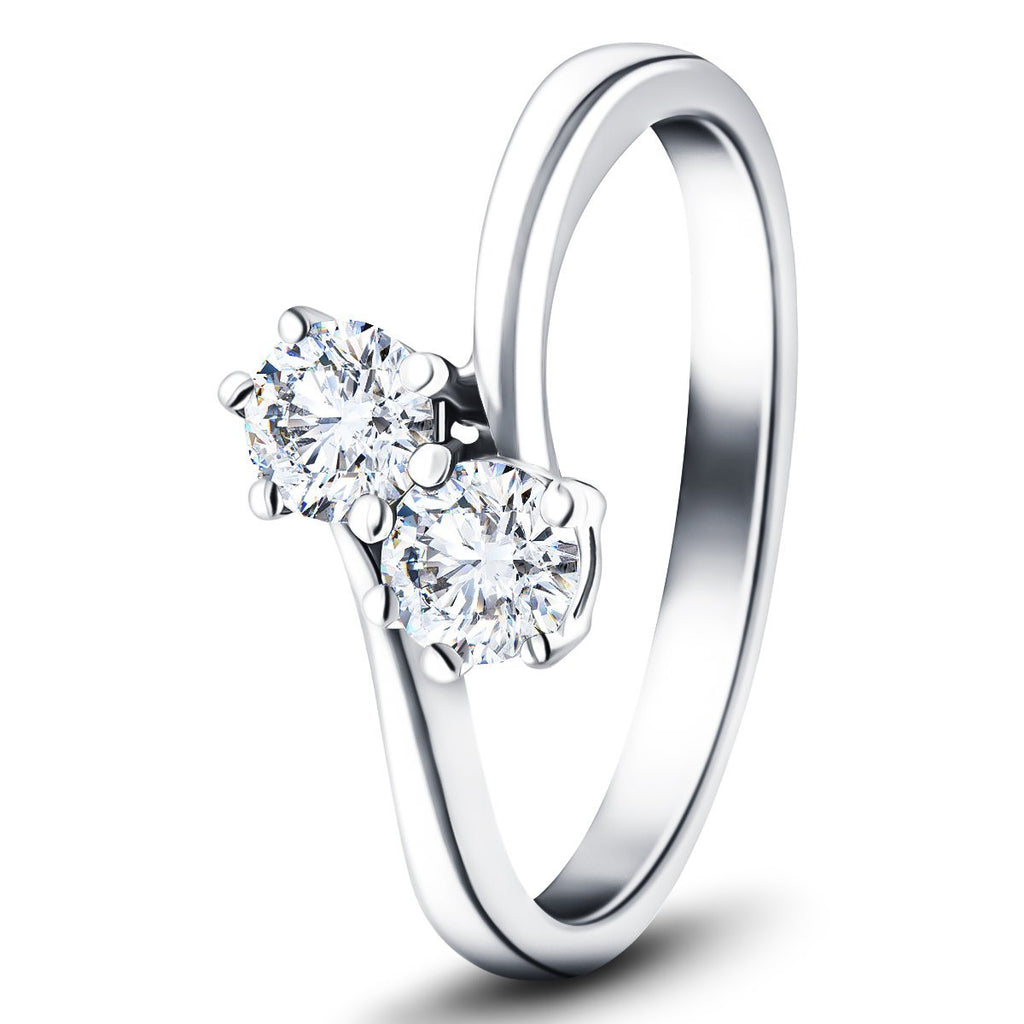 Two Stone Diamond Ring 0.60ct G/SI in Platinum - All Diamond