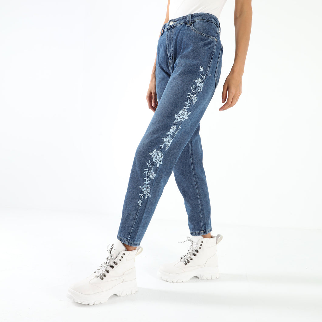 Dark Blue Embroidered Floral mom fit Jeans