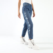 Load image into Gallery viewer, Dark Blue Embroidered Floral mom fit Jeans
