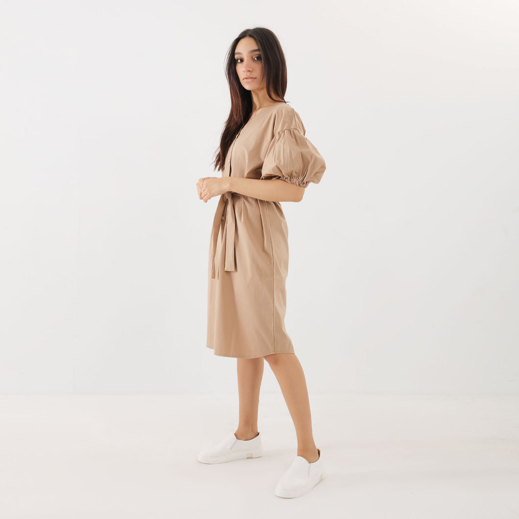 Beige Puff Sleeve Shirt Dress