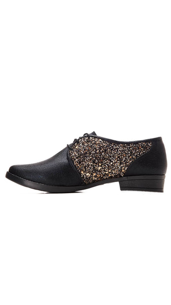 Black, shoes, party, glittery, oxford shoes & fun