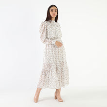 Load image into Gallery viewer, Floral White Chiffon Dress