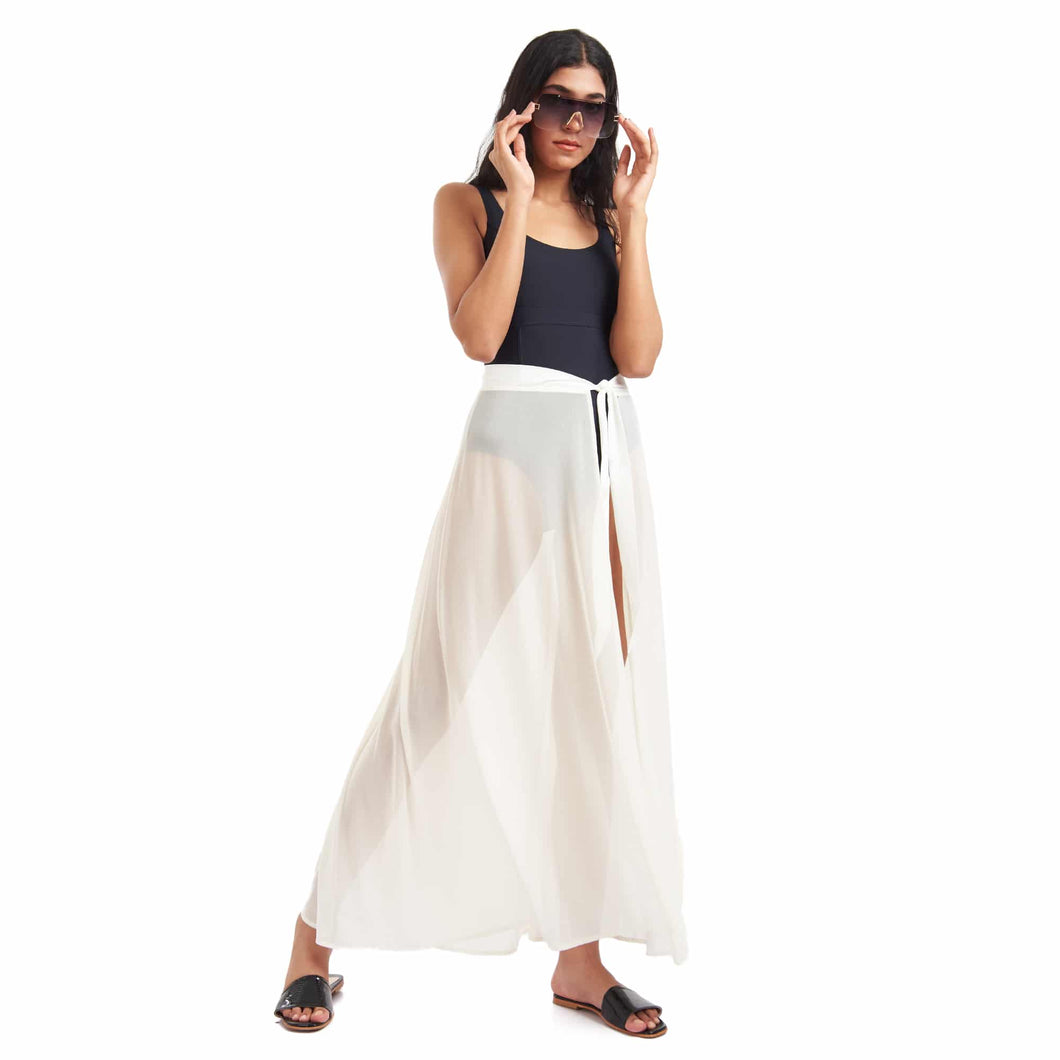 White Go with the Flow Cover Up Skirt