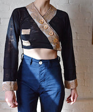 Load image into Gallery viewer, 1990's | Voyage Invest in the Original | Sheer Black Crop Top with Asymmetrical Buttons