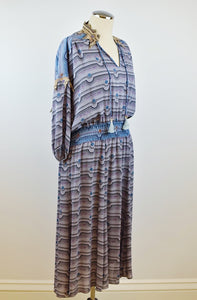 1990's | Diane Freis | Blue and Lavender Dress with Ties