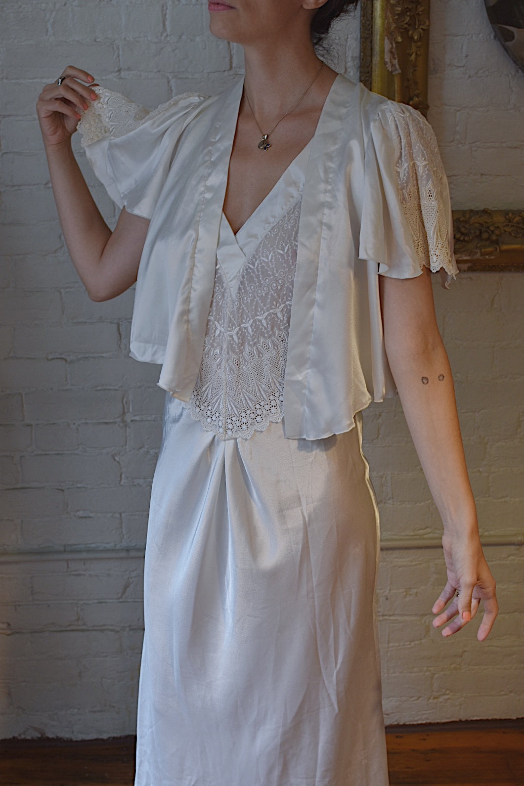 1980's | Miss Dior | Lingerie Slip and Bed Jacket Set