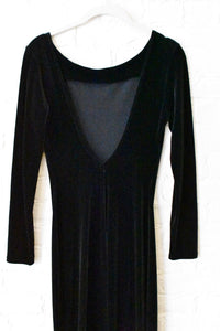 1990's | Backless Black Velvet Dress