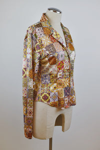1995 | Todd Oldham | Positano Tile Patchwork Print Button Down