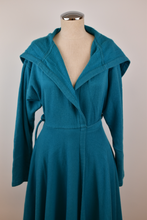 Load image into Gallery viewer, 1980's | Norma Kamali | Blue Sweatshirt Wrap Coat