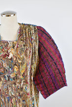 Load image into Gallery viewer, 1980's | Ellen Hauptli | Marbled & Plaid Pleated Dress