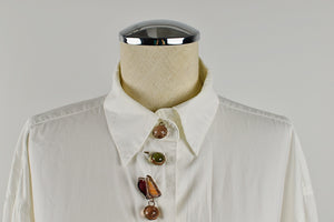 1990's | Todd Oldham | White Button Down with Decorative Glass Buttons