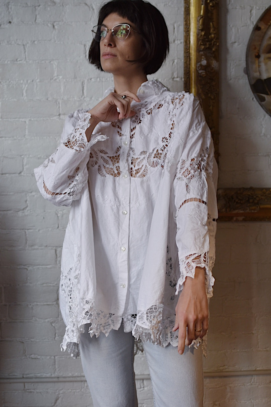 1990's | Judy Hornby | Oversized Lace Top