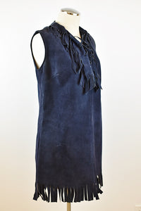 1970's| El Greco | Navy Blue Suede Fringe Mini Dress