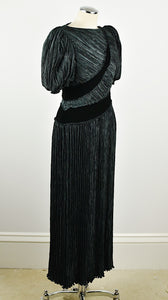 1980's | Mary McFadden | Pleated Puff Sleeve Dress with Rhinestone Details