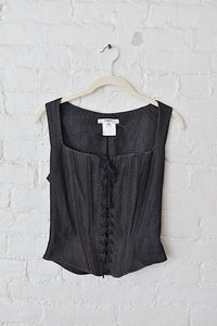 1990's | Vertigo Paris | Denim Lace Up Corset Top
