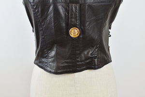 1990's | Firenze Santa Barbara | Leather Vest with Gold Buttons and Corset Sides