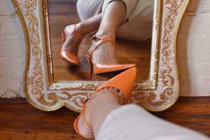 1990's | Claude Montana | Bright Orange Heels with Ankle Straps