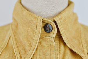 1970's | Pierre D'Alby | Tan Fleece Western Shirt with Buffalo Buttons