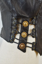 Load image into Gallery viewer, 1990's | Firenze Santa Barbara | Leather Vest with Gold Buttons and Corset Sides