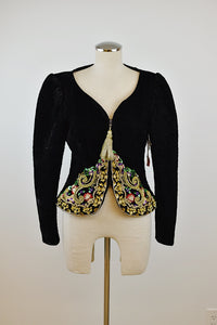 1990's | Beaded Velvet Jacket with Gold Tassel Zipper