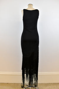 1990's | Class by Roberto Cavalli | Black Maxi Dress with Beading and Fringe