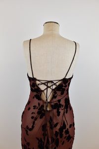 1990's | Burgundy Sheer Burnout Velvet Dress