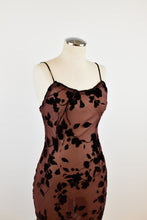 Load image into Gallery viewer, 1990's | Burgundy Sheer Burnout Velvet Dress