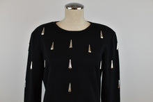 Load image into Gallery viewer, 1990's | Black  Knit Dress with Silver Tear Drop Beads