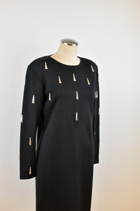 1990's | Black  Knit Dress with Silver Tear Drop Beads
