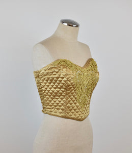 1990's | Victoria's Secret | Gold Quilted Bustier Top