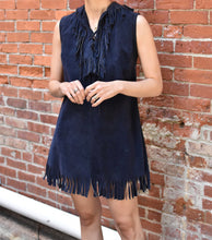 Load image into Gallery viewer, 1970's| El Greco | Navy Blue Suede Fringe Mini Dress