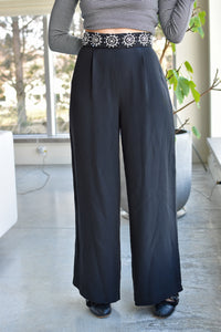 1990's | Maria Snyder | Silk Pants with Beaded Waist Line