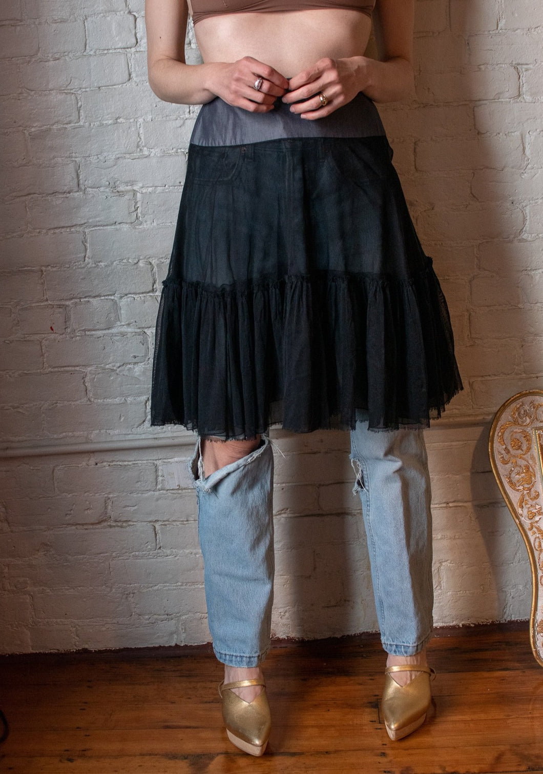 Y2K | Louis Vuitton | Tulle Skirt with Cotton Band