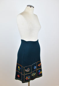 1990's | Romeo Gigli | Knit Skirt with Embroidered Pictures